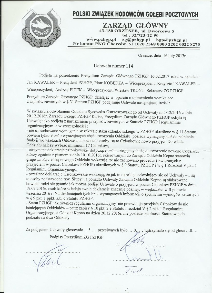 Pismo z Zarządu Głównego
