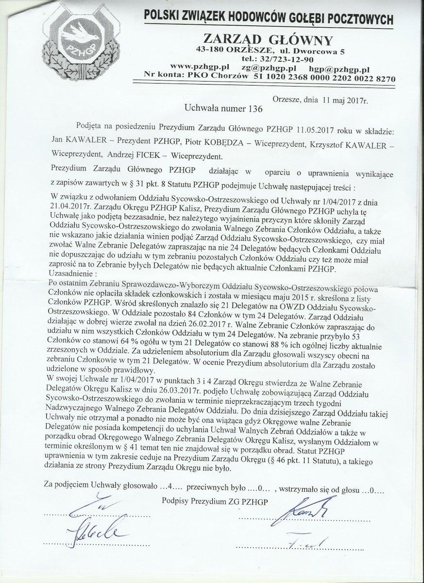 Uchylenie uchwały Zarządu Okręgu Kalisz